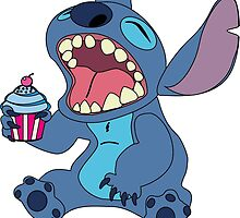 Cute Stitch eating cupcake by LikeYou