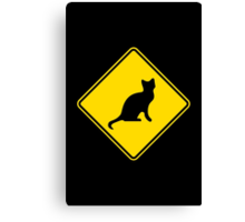 Cat Crossing Traffic Sign - Diamond - Yellow & Black Canvas Print