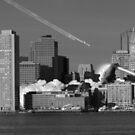 B&W Kaiju Attack Boston by Troy Dodds