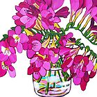 Freesias by marlene veronique holdsworth