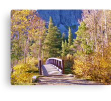 MAMMOTH LAKES BRIDGE OVER BABBLING BROOK WITH FALL COLORS Canvas Print