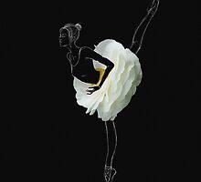 Ballerina in white flower skirt by Olga Kashubin