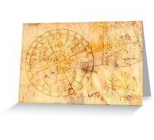 zodiac signs and astronomical clock Greeting Card