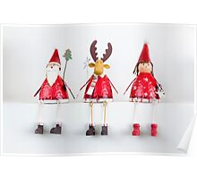 Christmas Santa, Reindeer and Fairy Ornaments Poster