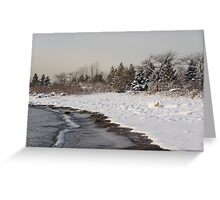 The Snow Just Stopped - a Winter Beach on Lake Ontario Greeting Card
