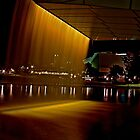 Fountain from the Adelaide Oval Bridge at night by Ferenghi