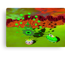 A Green Alien with 6 Arms, Juggling with 4 of Them Whilst Balancing on 1 Leg and Being Asked by a Flying Saucer Alien What He Does with the Other 2 Arms Canvas Print