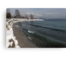 Waterfront Winter - Waves, Snow and Skyline Canvas Print