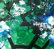 Codex Abstract Expressionism Joy Painting Green Black Blue by 7RayedDesigns