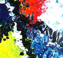 Trail abstract conceptual painting blue yellow red black white by 7RayedDesigns