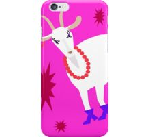 Goat on the Pink Background. Neon. iPhone Case/Skin