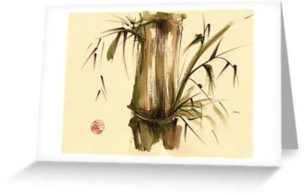 """""""Strolling along...""""  Original sumi-e acrylic wash painting on paper. by Rebecca Rees"""