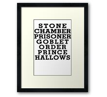 Stone Chamber Prisoner Goblet Order Prince Hallows - Harry Potter Books, List of Harry Potter Books, Harry Potter Shirt Framed Print