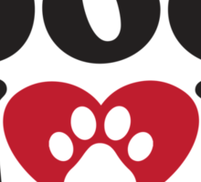 Dog Mom - Paw Print Red Heart Dog Lovers Shirt Sticker