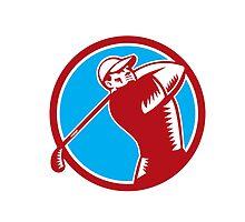 Golfer Tee Off Golf Circle Woodcut by patrimonio