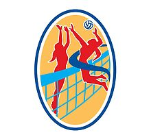 Volleyball Player Spiking Ball Blocking Oval by patrimonio