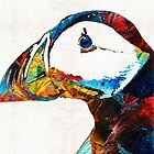 Colorful Puffin Art By Sharon Cummings by Sharon Cummings