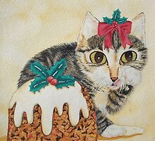 Cute grey tabby kitten and Christmas pudding cat by pollywolly