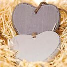 grey wooden love hearts with copy space by morrbyte