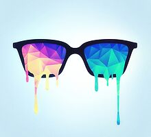 Psychedelic Nerd Glasses with Melting LSD/Trippy Color Triangles by badbugs