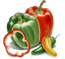 Bell Peppers And Jalapeno  by Irina Sztukowski