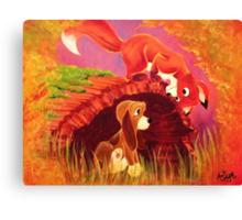 Fox and the Hound Painting Canvas Print