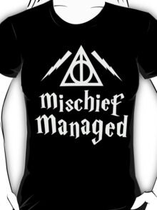 Mischief Managed, White Ink | Harry Potter Deathly Hallows Symbol Sweater, Harry Potter Quote T-Shirt