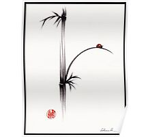 """Little Sunshine""  Original ink brush pen ladybug bamboo painting Poster"