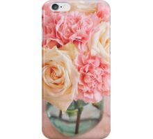 Beautiful bouquet of white roses and pink carnations iPhone Case/Skin
