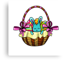 easter bunny sitting in a basket with Easter eggs Canvas Print