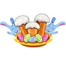 easter cakes with bunny and eggs by Ann-Julia