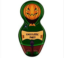Halloween pumpkin with the poster in hands in style of a nested doll by Ann-Julia