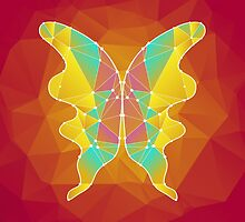 beautiful polygonal butterfly on a pink background by Ann-Julia
