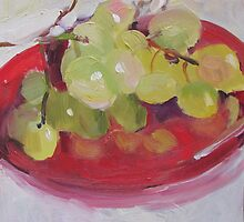 Green Grapes on Red Plate by Linda Hunt