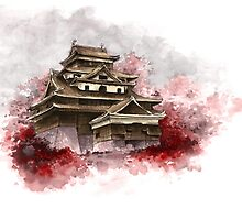 Japanese castle sumi-e painting, japanese art print for sale by Mariusz Szmerdt