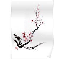 Cherry blossom tree sumi-e painting, sakura art print Poster