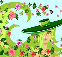 the girl in a hat among a whirlwind of leaves and roses by Ann-Julia
