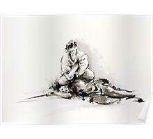 Sumi-e martial arts, samurai large poster for sale Poster
