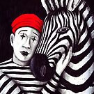 Zebra and Mime pen, ink, and colored pencils drawing by Vitaliy Gonikman
