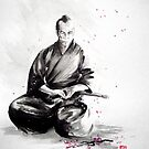 Samurai sepuku acts, japanese warrior ink painting by Mariusz Szmerdt