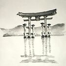 Japanese lanscape torii gate, ink large poster by Mariusz Szmerdt