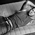 nick jonas for flaunt - black and white poster by fiji