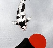 Mt Fuji Wave Sun Rise Utsuri Mono painting by KoiPainting