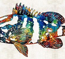Colorful Grouper 2 Art Fish by Sharon Cummings by Sharon Cummings