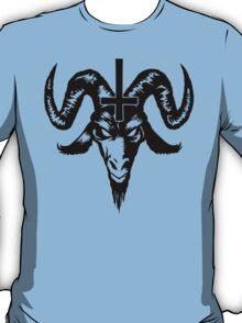 Satanic Goat Head with Cross (black) T-Shirt