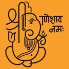 Ganesh Ganesa Ganapati 5 (black outline) by MysticIsland