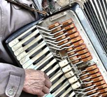 West Yorkshire Street Accordion Player Sticker