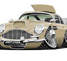 James Bond Aston Martin DB5 caricature by car2oonz