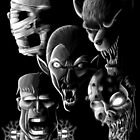 Monsters - Vampire, Werewolf, Zombie, Mummy and Frankenstein by EJTees