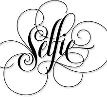 Elegantly Flourished Calligraphy 'Selfie' Black on White Lettering by 26-Characters